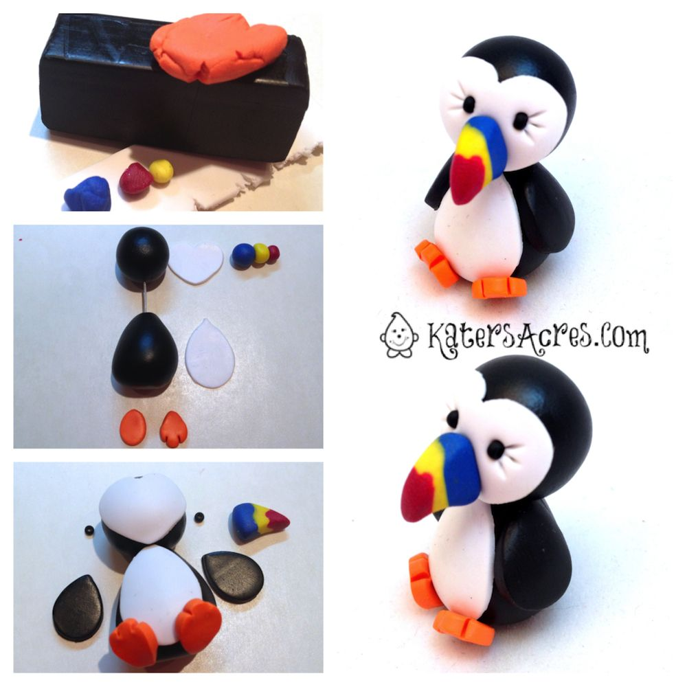 katersacres: Polymer Clay Puffin Tutorial can be one in gumpaste & mmf :)