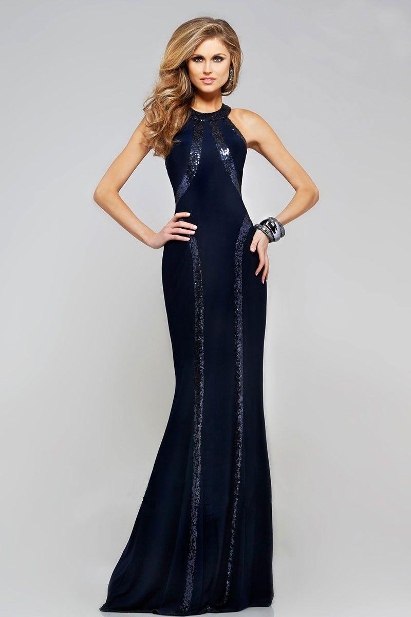 Long navy halter neck dress long prom u evening dresses