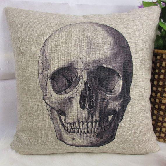 Vintage Love Skull Cotton Linen Cushion Cover Throw Pillow For Home Decor B218