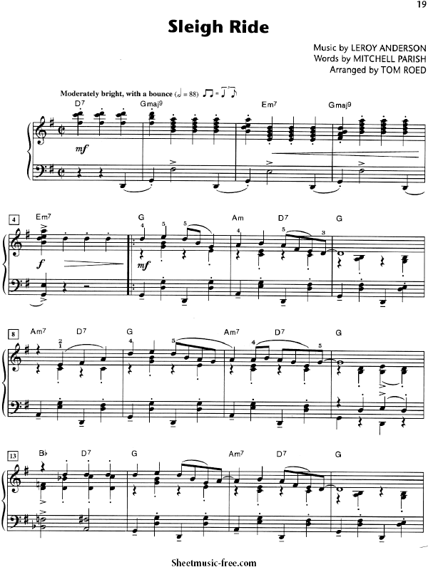 Sleigh Ride Sheet Music Christmas Carol Sheet music