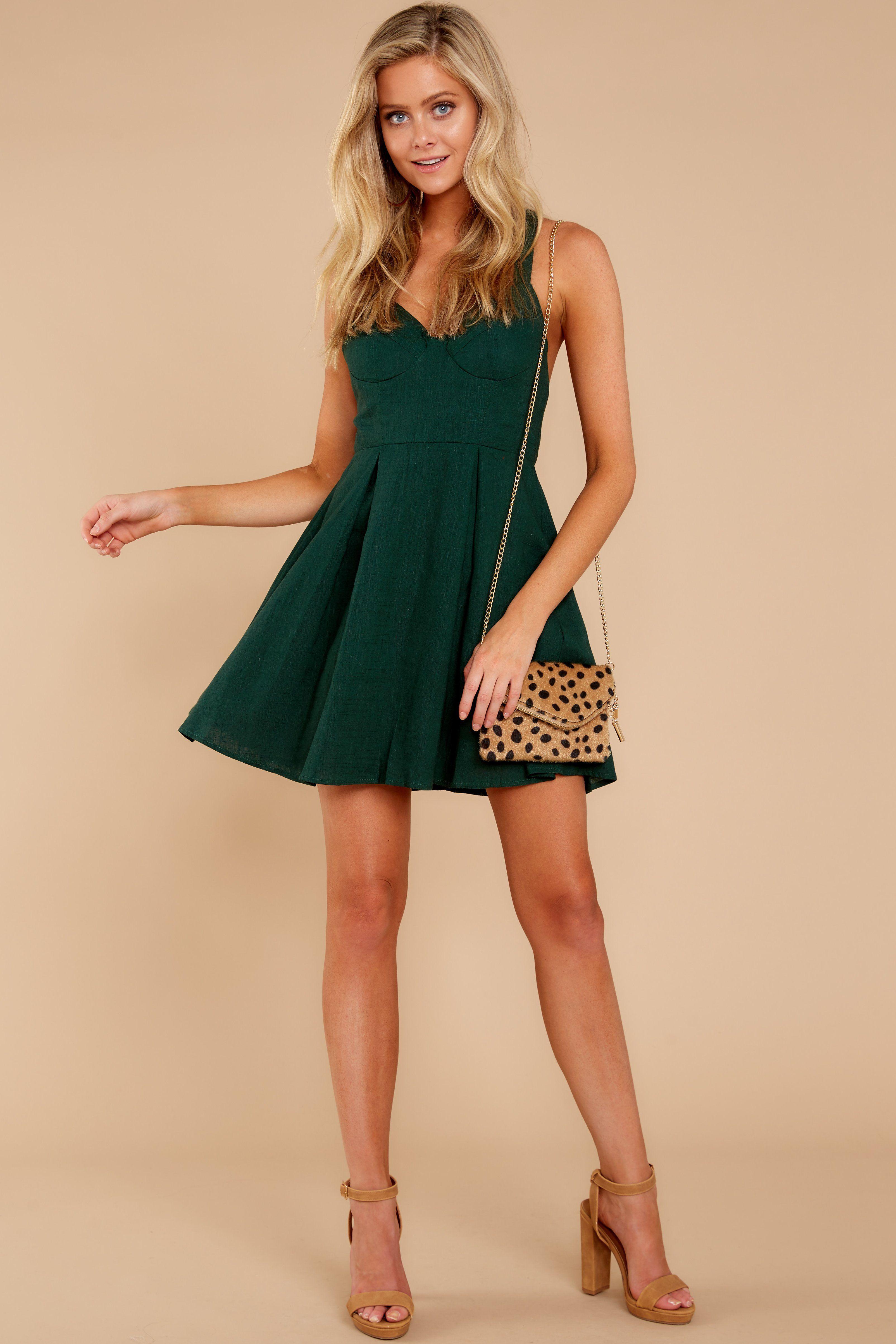 2ebb5d6c030 Sexy Dark Green Dress - Flirty Mini - Short Dress -  44.00 – Red Dress  Boutique