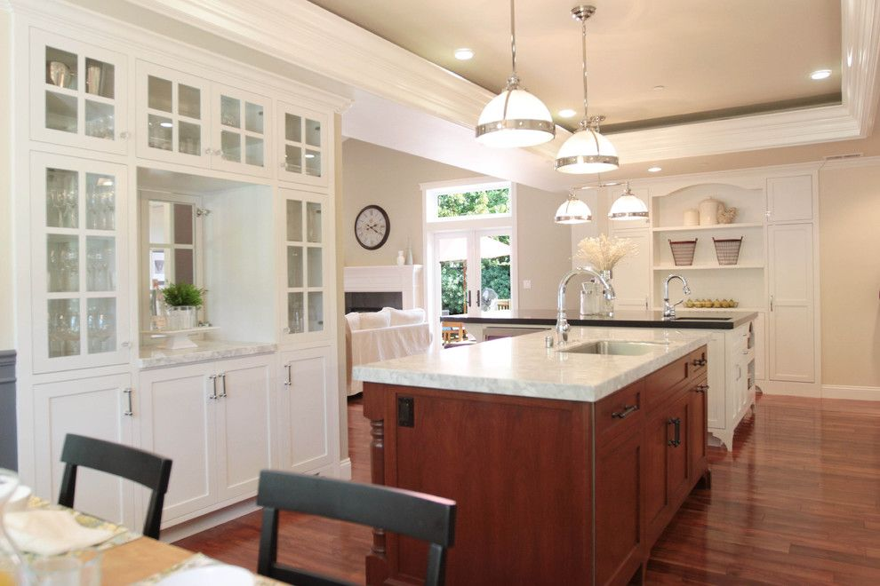 living room hutch Kitchen Traditional with crown