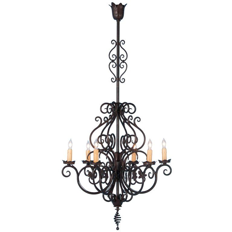 Antique French Six Light Wrought Iron Chandelier With Images
