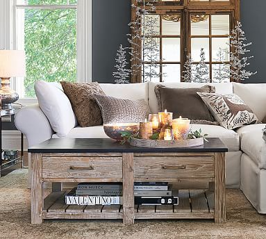 Parker Reclaimed Wood Coffee Table With Bluestone Top Reclaimed - Pottery barn parker coffee table