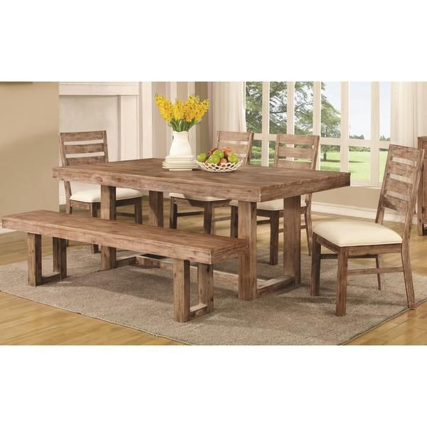 Find This Pin And More On Trestle Table Ideas By Marrin70 The Coaster Elmwood Rustic Dining Set In Brown At Local Furniture Outlet Would Be A Great