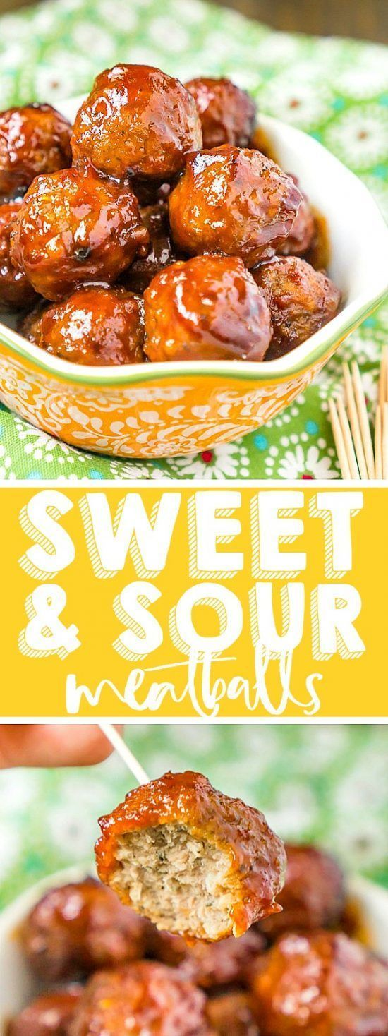 Sweet and Sour Meatballs   The Best Slow Cooker Recipes from Food Bloggers #gamedayfood