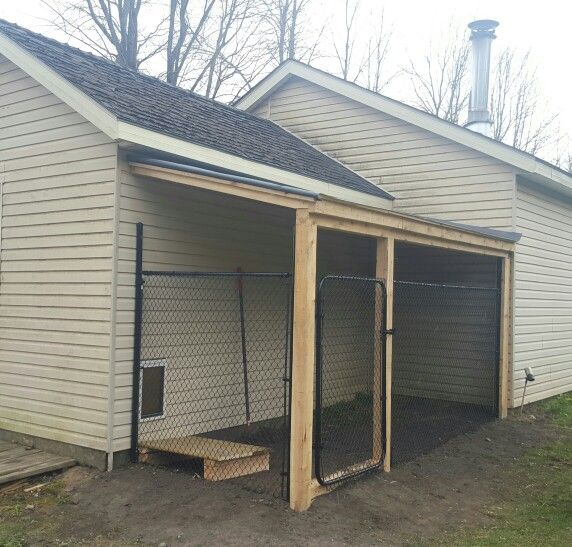 Dog Kennel Attached To Garage Almost Finished Habitat Outdoor Area Pen