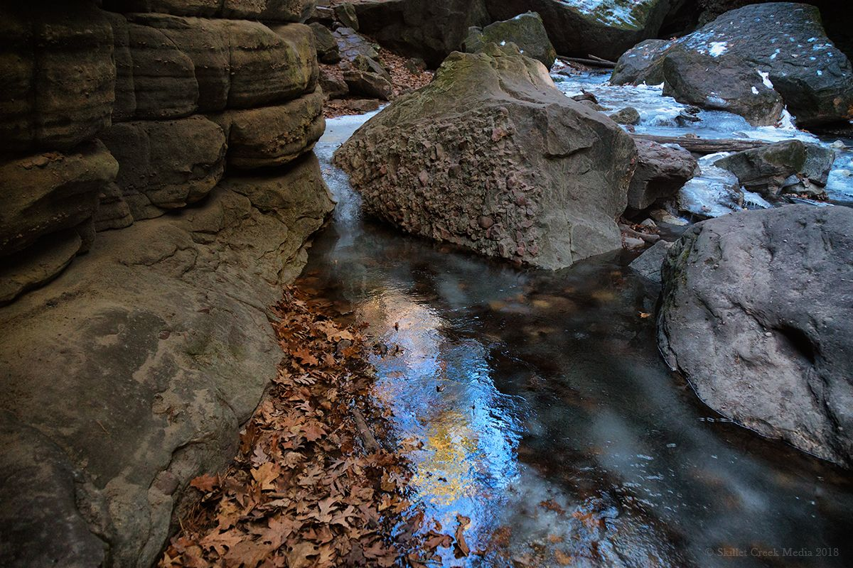 Ice in Parfrey's Glen State Natural Area. Baraboo, WI.