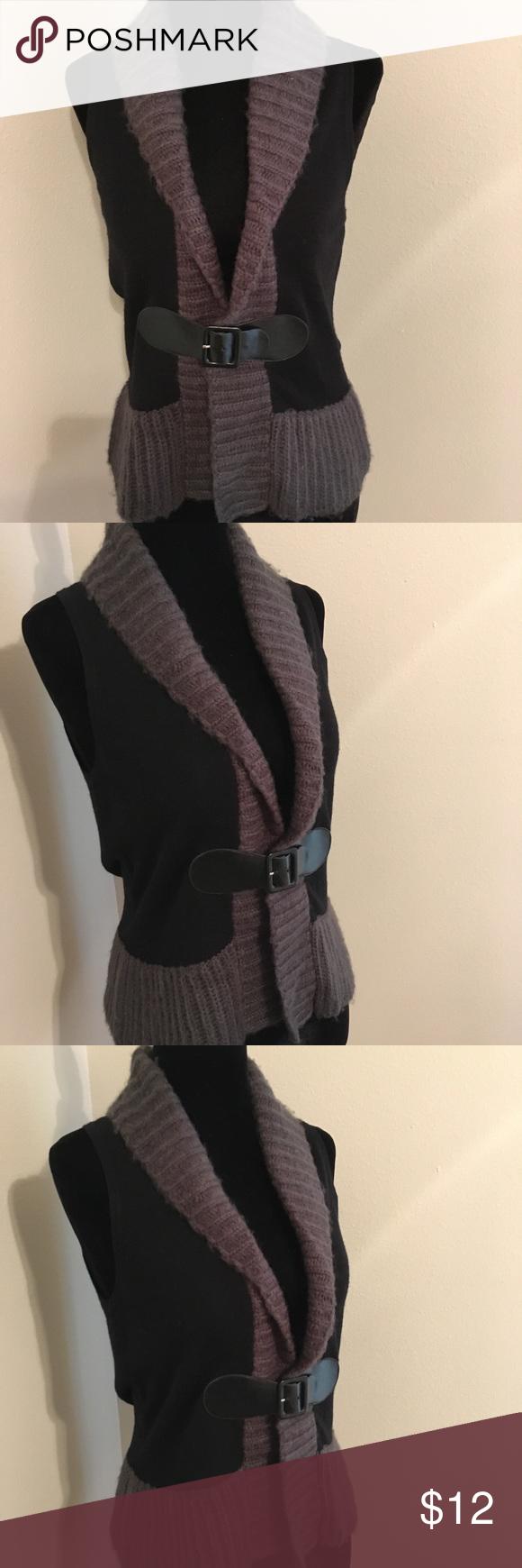 💜WEEKEND SALE 💜Cute belted sweater vest Pretty black & gray vest ...