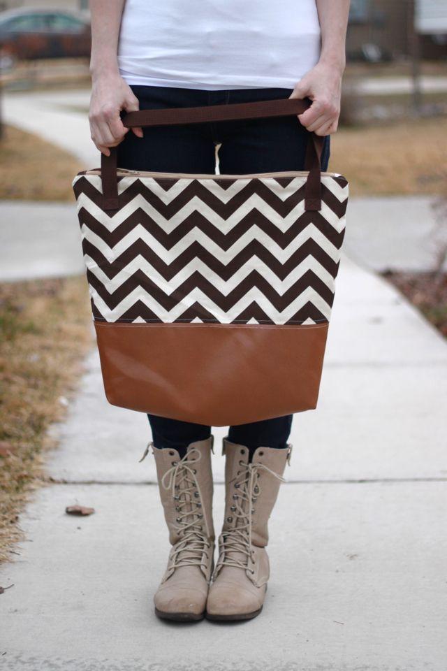 Leather Bottom Tote Tutorial | Anleitungen, Nähen und Taschen nähen