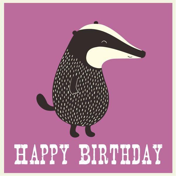 Badger Birthday Card Candle And Cake Stylish Luxury Party Supplies Badger Illustration Badger Birthday Cards