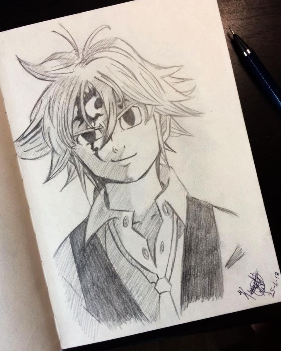 Nanatsu no taizai meliodas anime drawings sketches sketchbook drawings pencil drawings art
