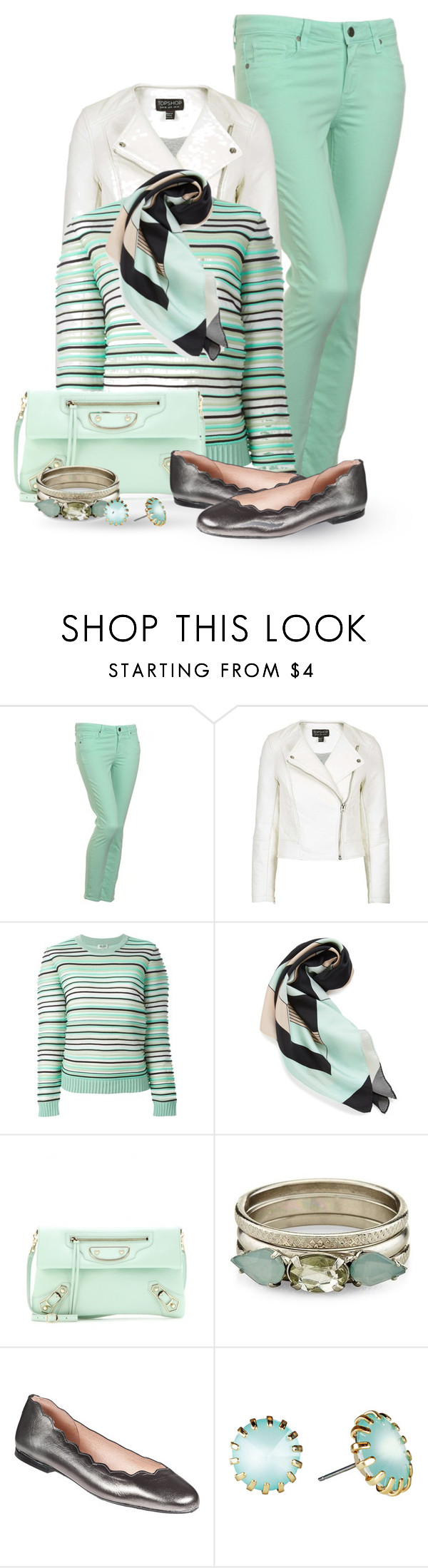 MINT GREEN by regatta-1 on Polyvore featuring moda, Kenzo, Topshop, Paige Denim, French Sole FS/NY, Balenciaga, Love Struck, Louisa Parris, white and mintgreen