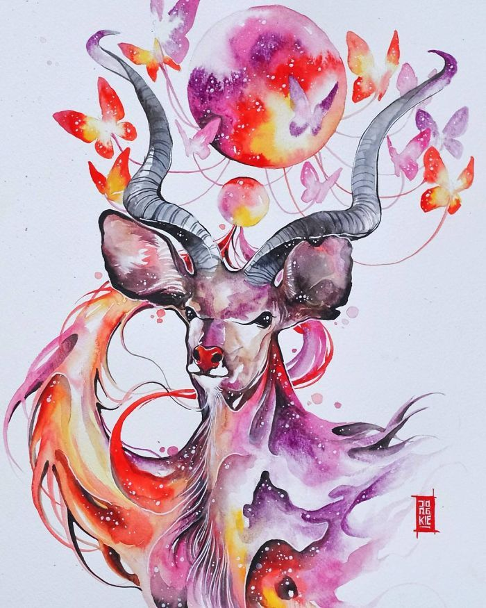 Lukisan Cat Air : lukisan, Lukisan, Warna, Karya, Malang, Instagram, Hewan