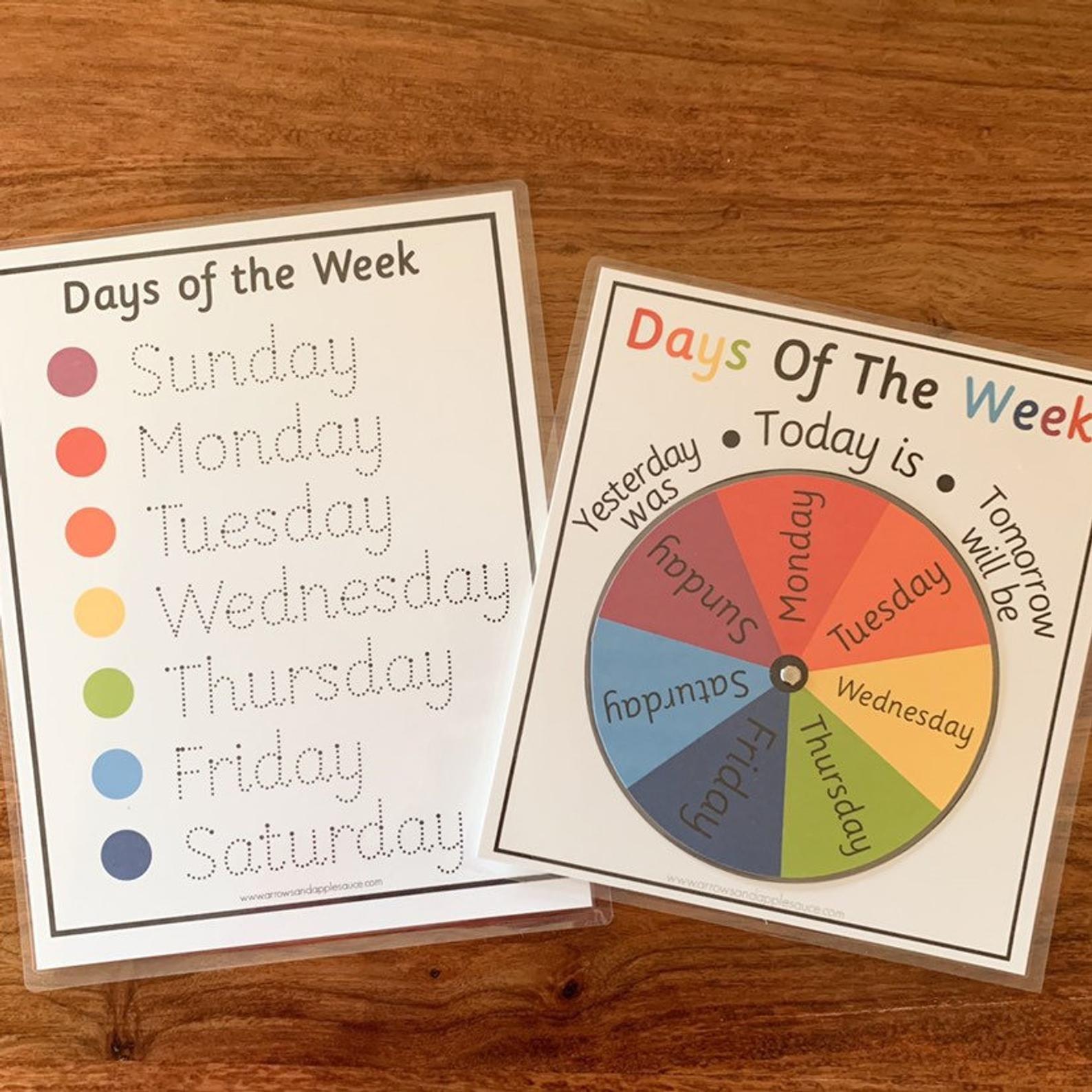 Montessori Days Of The Week Wheel Amp Tracing Worksheet