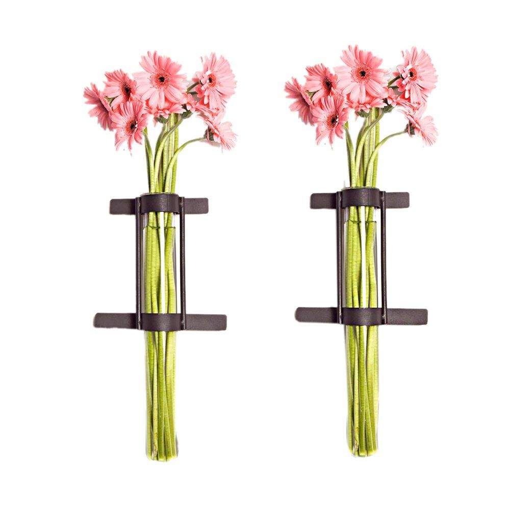 Set of 2 wall mount cylinder glass vases with rustic rings metal set of 2 wall mount cylinder glass vases with rustic rings metal stand amazon reviewsmspy