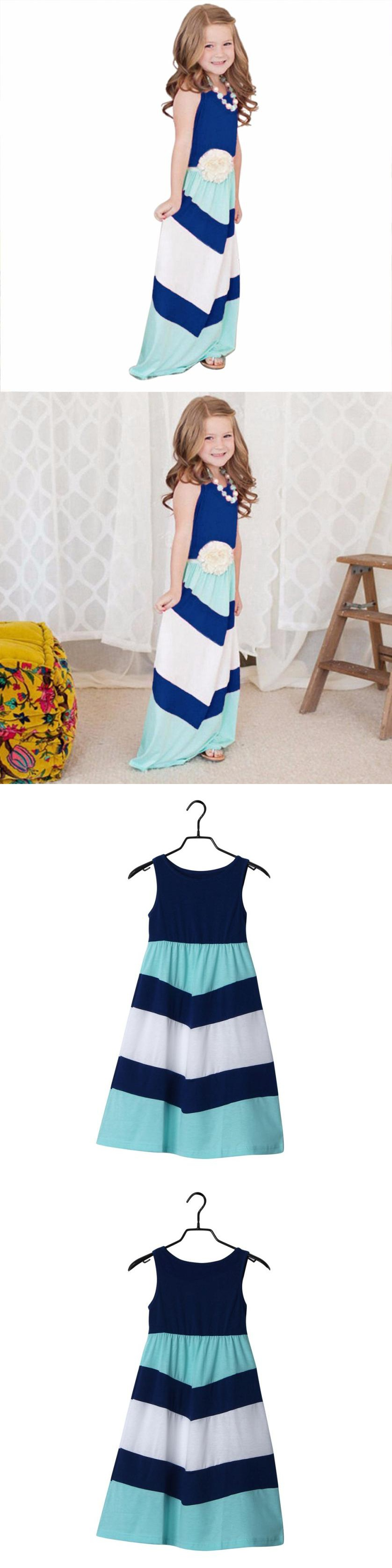Kids dresses for girls blue striped summer beach long baby girl
