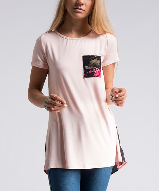 Blush Floral-Contrast Tee