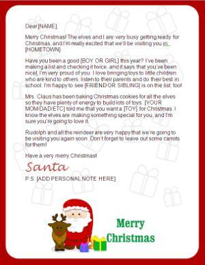 Free Printable Santa Letters HttpBlogChristmaslettertipsCom