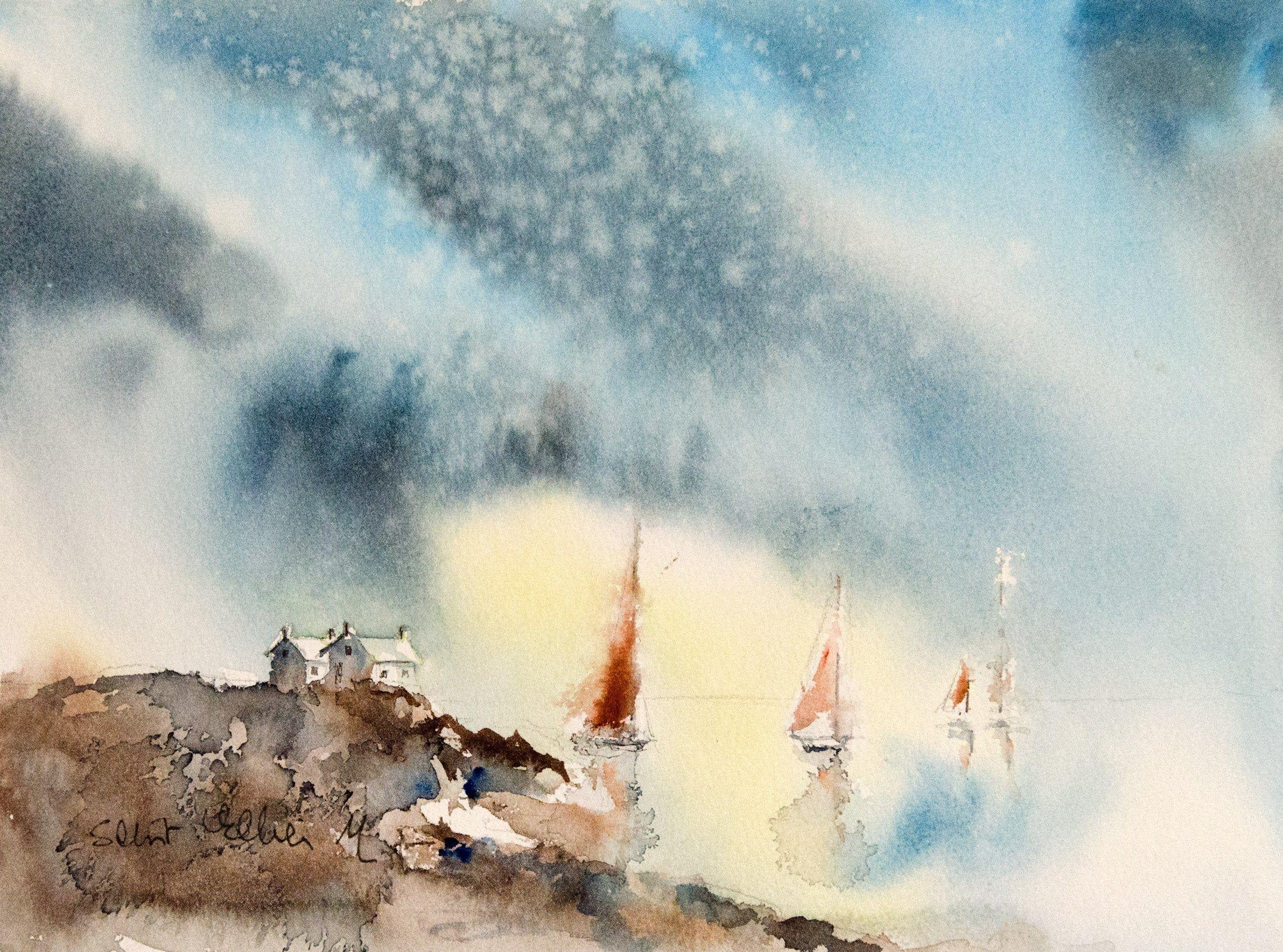 Art Mural Peinture Originale De Paysage Breton Avec Maisons