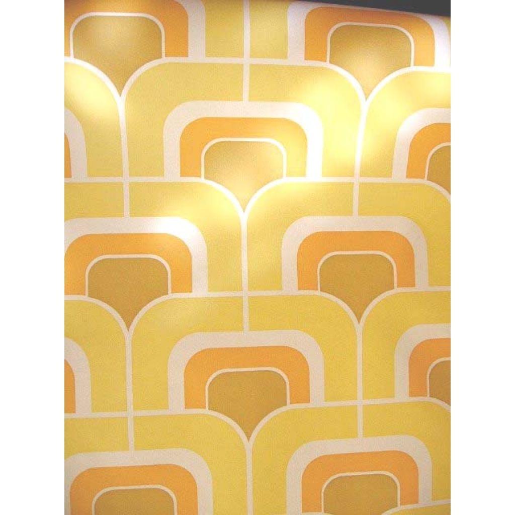 vinyl 70s VINYLETTE Wallpaper yellow squares