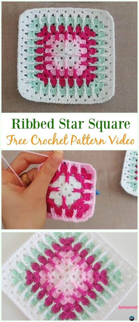 Crochet Ribbed Star Square Free Pattern Video Crochet Granny