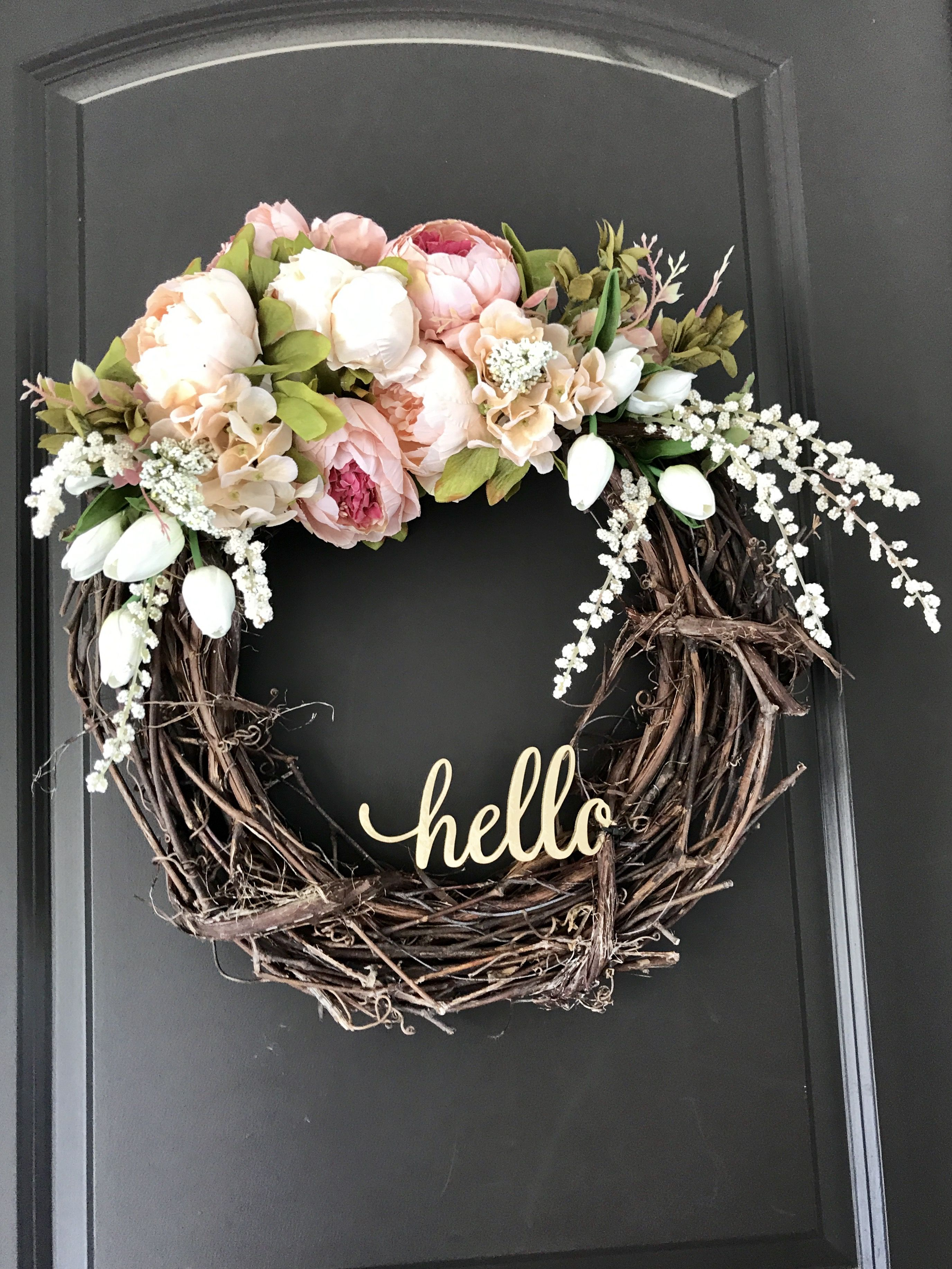 Diy Wreath Hello Front Door Gold Peony White Tulip Wisteria Hello Spring Door Wreaths Diy Wreath Diy Spring Wreath