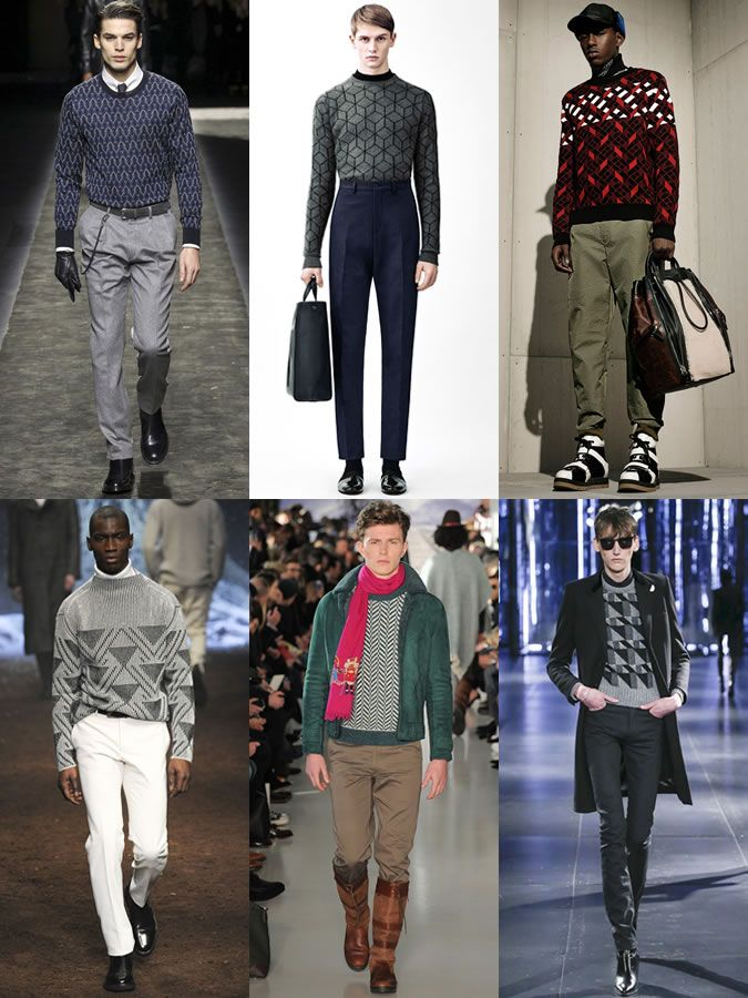Men's Geometric Print Knitwear On The AW15 Menswear Runways