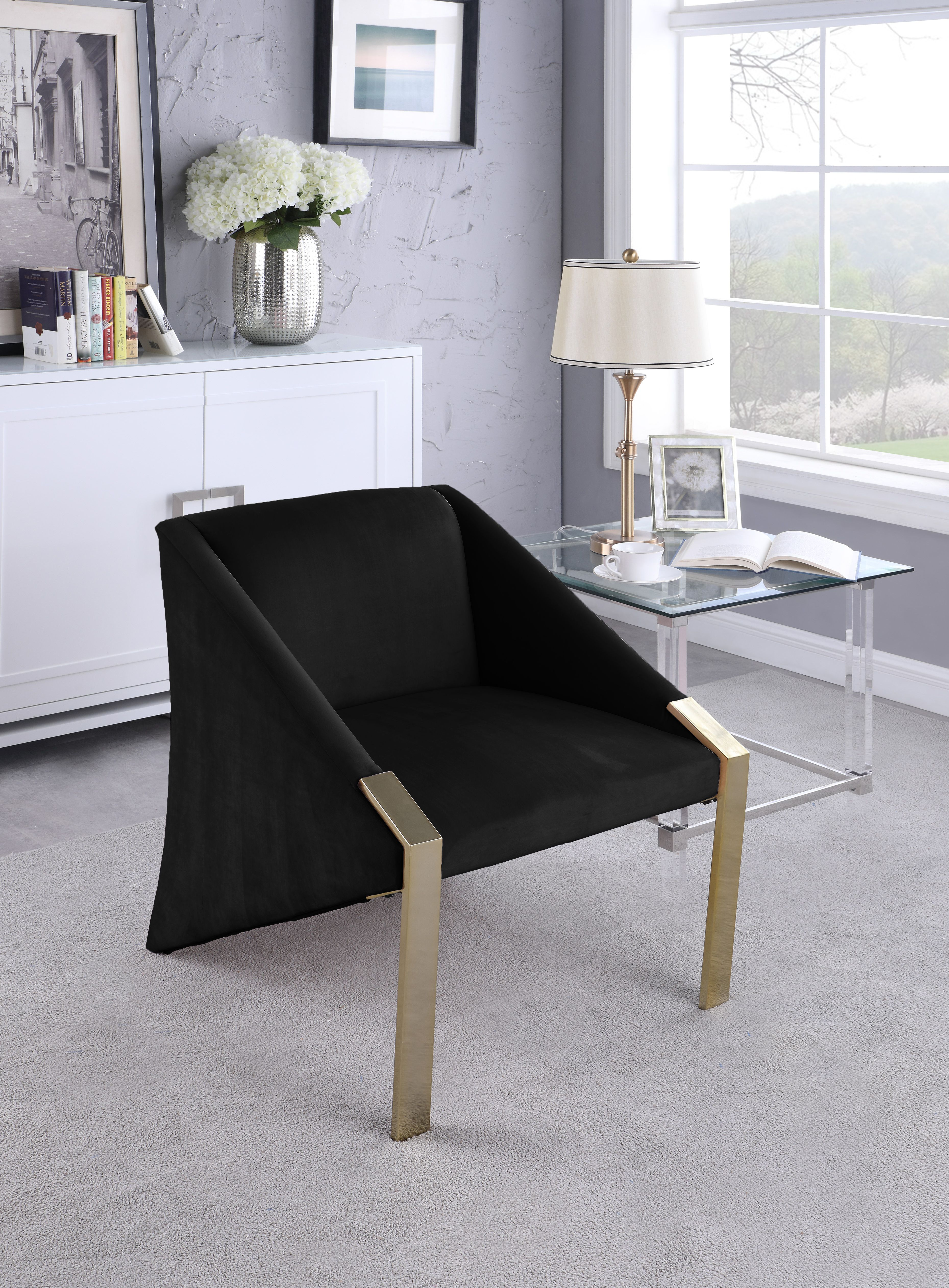 Meridian Rivet Black Acccent Gold / Velvet Chair In