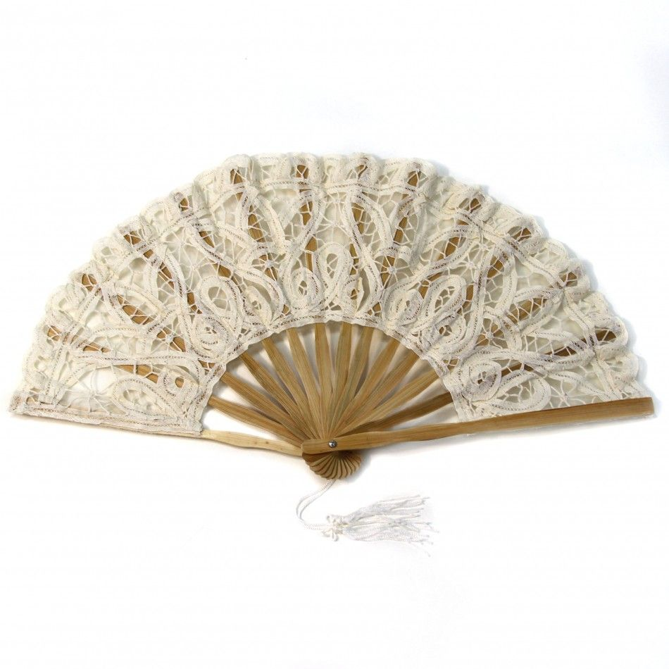 Antique Victorian Lace Hand Fan - Ivory [404839] : Wholesale Wedding ...