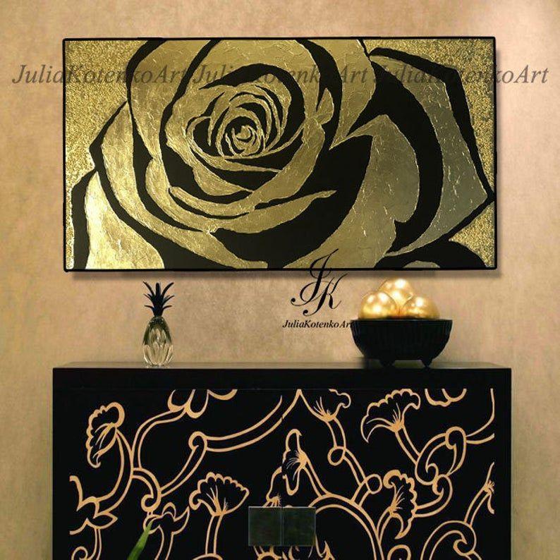 Pintura de hoja de oro, pintura de rosa de textura, pintura de oro, pintura original sobre lienzo, arte de lona grande, decoración de apartamentos por Julia Kotenko