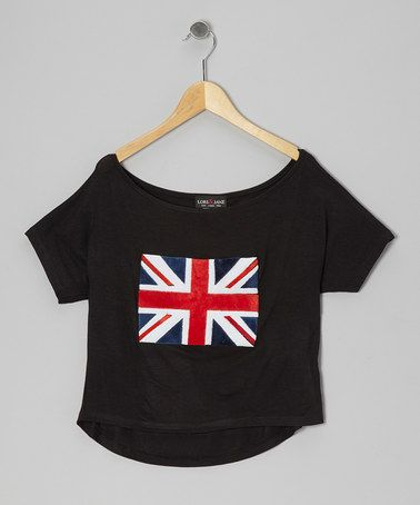 Take a look at this Black Union Jack Dolman Tee by Rated G on #zulily today!