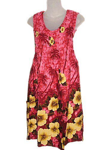 HAWAIIAN PALM TREES DARK PINK TANK TOP SUN DRESS- « Dress Adds Everyday