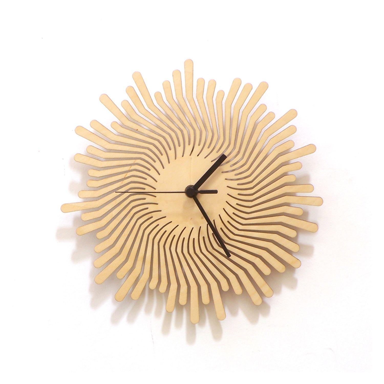 Volcano - unique handmade wooden wall clock, a wall art · ardeola ...