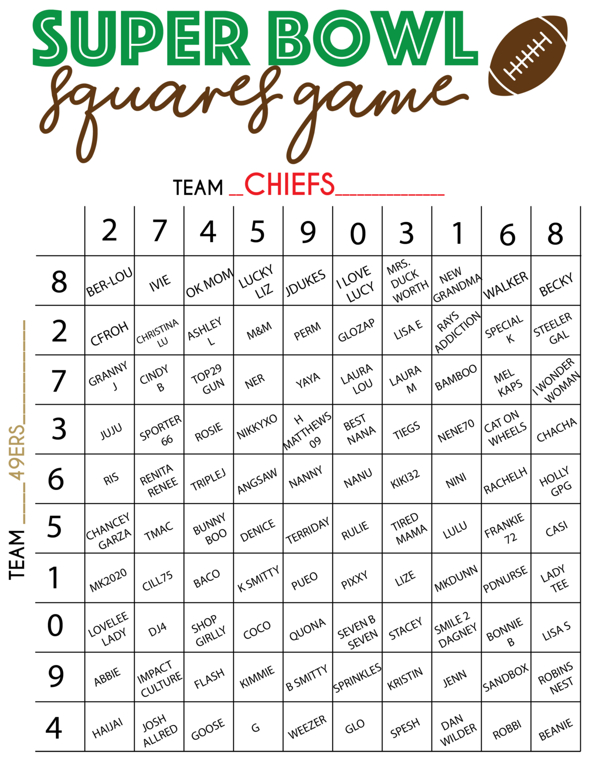 Free Printable Super Bowl Squares Game Board Perfect For Any Some Super Bowl Fun Or Really Watching Any Foo Superbowl Squares Super Bowl Superbowl Party Games
