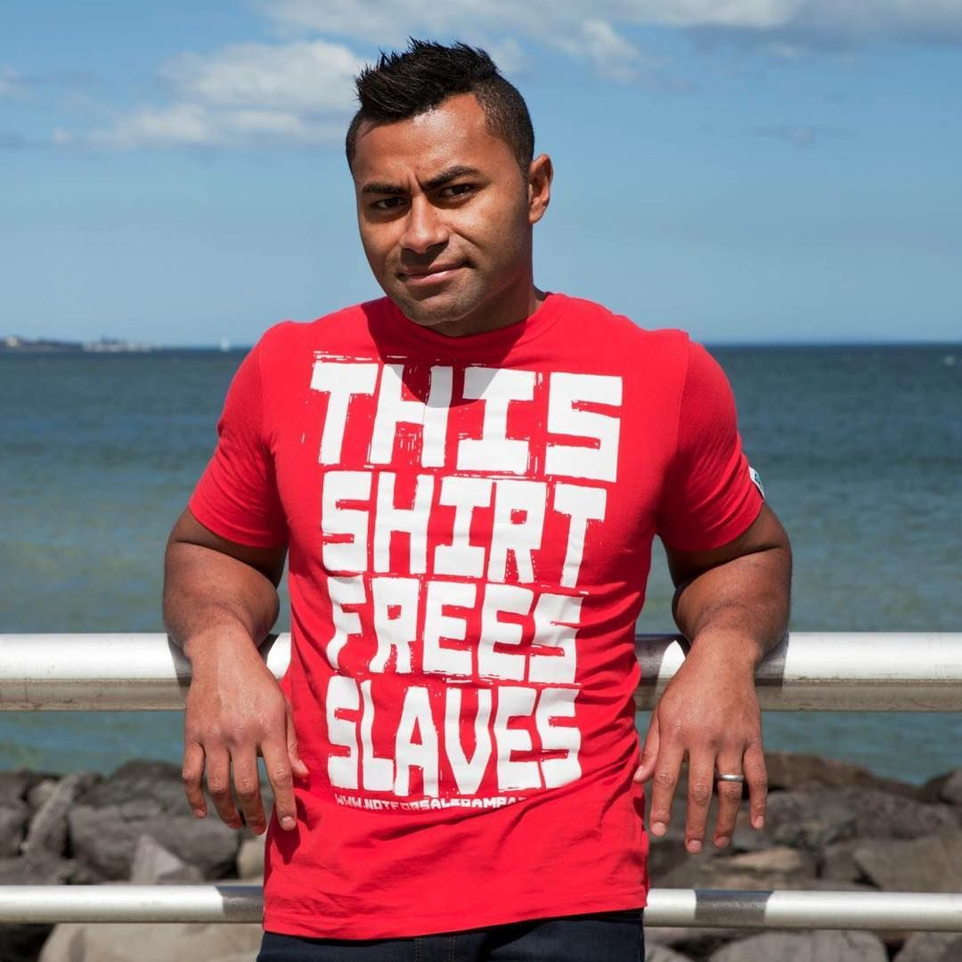 "92 Likes, 4 Comments - ETIKO (@etiko_fairtrade) on Instagram: ""AFL legend @davidrodan15 in our Free Slaves tee. Only $20 online now!   #wearnoevil #fairtrade"""