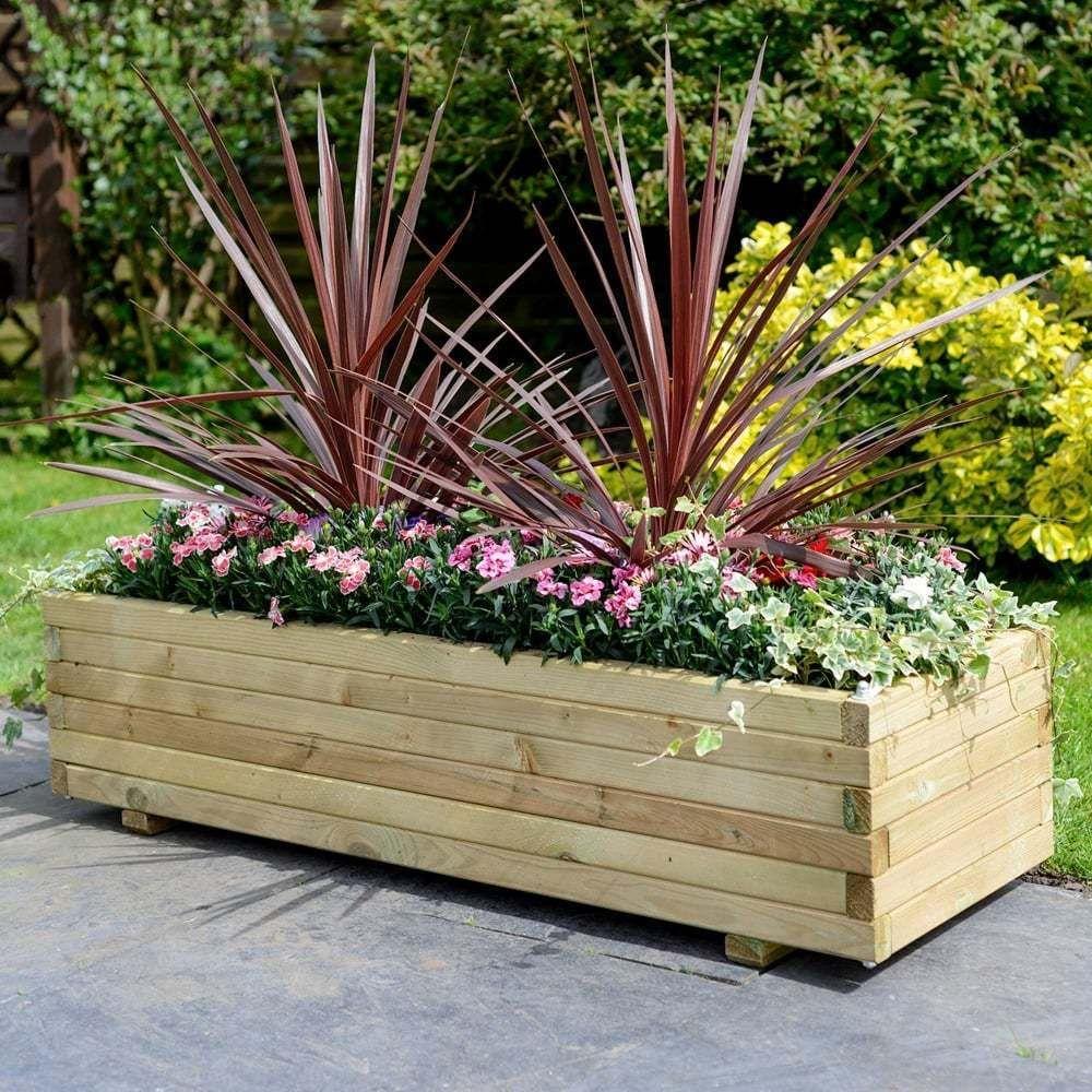 Wooden Patio Rectangular Planter Garden Large Furniture ...
