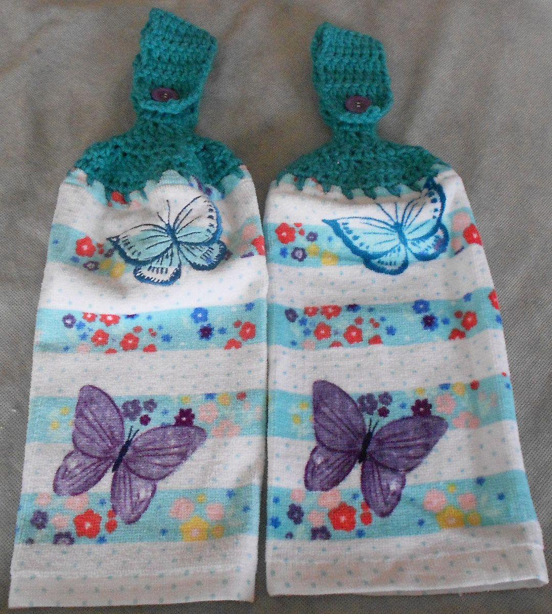 Crocheted Handle Top Butterfly Towel - Butterfly Crochet Top Towel ...