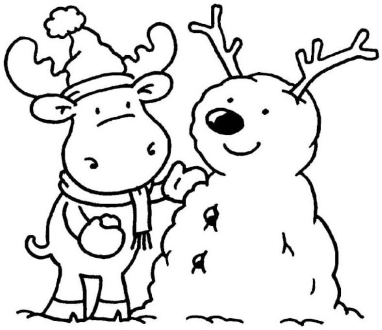 winter rabbit and snowman coloring pages winter