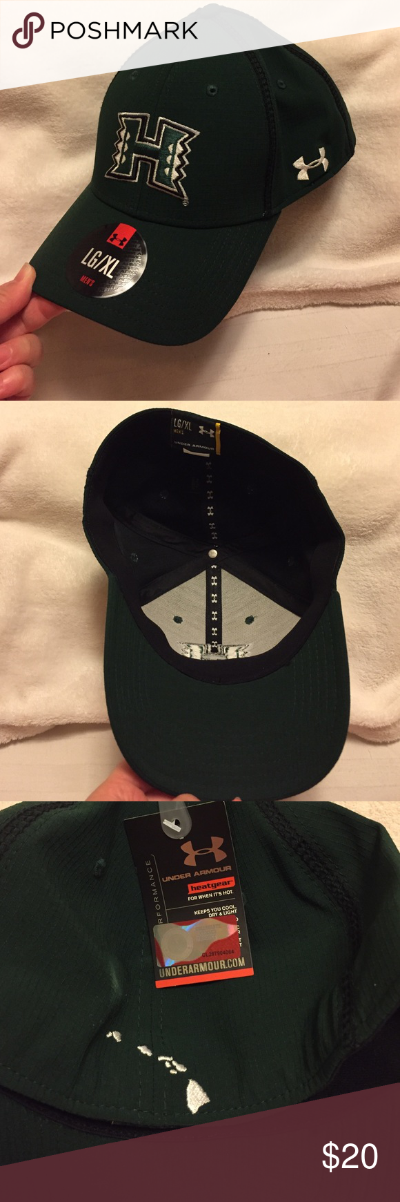 Univ. of Hawaii Men's Under Armour Baseball Cap New, never worn. University of Hawaii Men's Under Armour Performance Headwear Baseball Cap - Size Large/ X-Large. Hard front bill/ moldable. University logo and UA logo on left front facing side. Embroidered Hawaiian Island chain detail on back. Under Armour Accessories Hats
