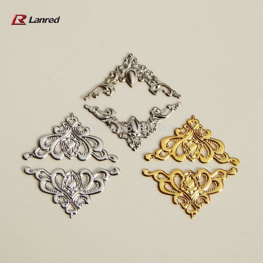 T5 Free Shipping 200pcs Mixed Colors 22mm FILIGREE Right Angle Metal CORNERS Wedding Invitation Stick On