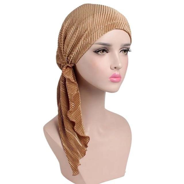 582923936d7 2018 New women soft ruffle head Scarf Chemo Hat Turban Pre-Tied Headwear Bandana  headscarf for Cancer