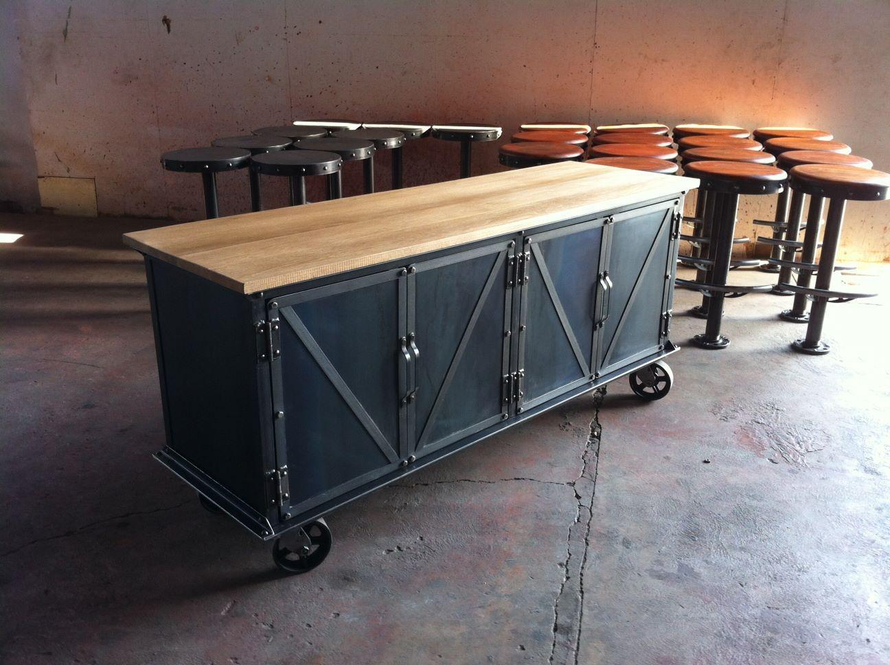 ellis sideboard with a worn oak top vintage industrial furniture design industrial furniture. Black Bedroom Furniture Sets. Home Design Ideas