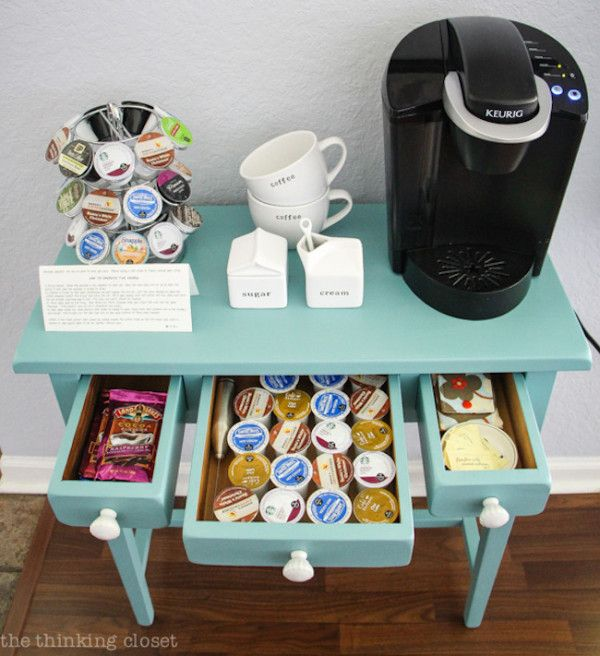 Tiny Craftsman Comes With Espresso Station: Small Coffee Station With Storage For K-cups