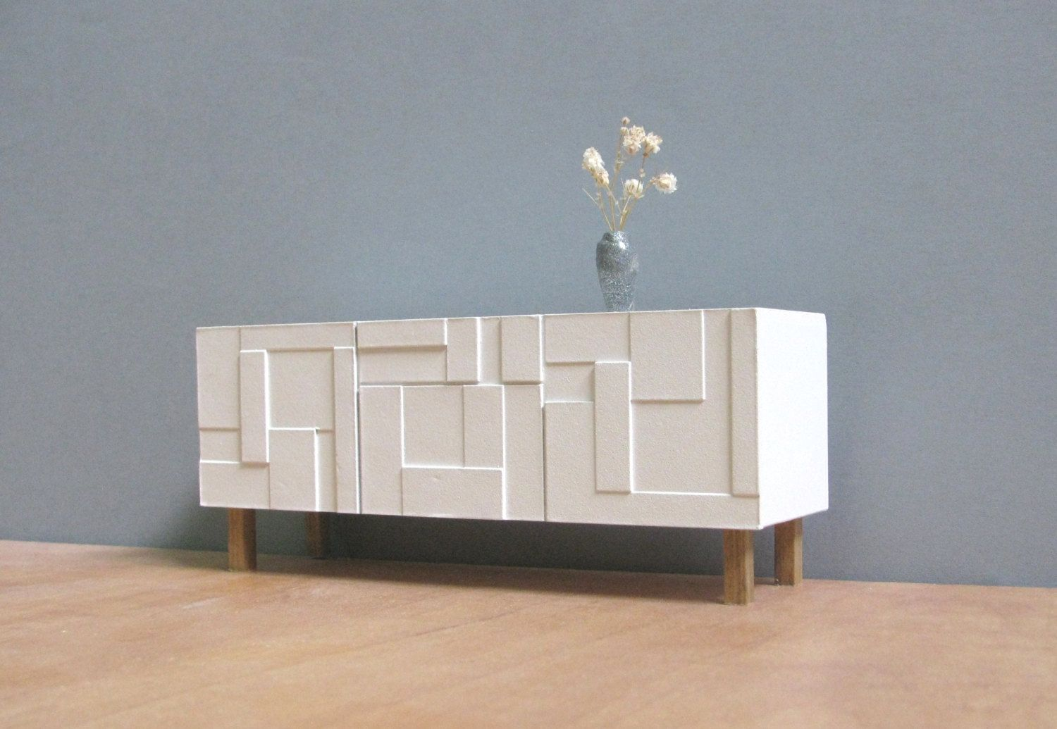 modern furniture credenza. White Sideboard / Credenza 1:12 Scale, Collectible Miniature Furniture, Modern Style Design Furniture