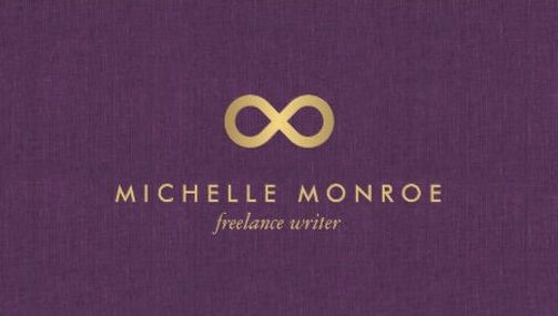 Chic faux gold infinity symbol on purple linen freelance writer chic faux gold infinity symbol on purple linen freelance writer business cards httpzazzle reheart Image collections