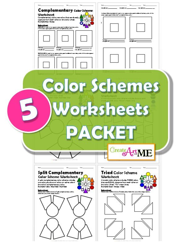 BUNDLED Color Schemes Worksheets PACKET Complementary Worksheet Pages Analogous Monochromatic Split Triad Scheme