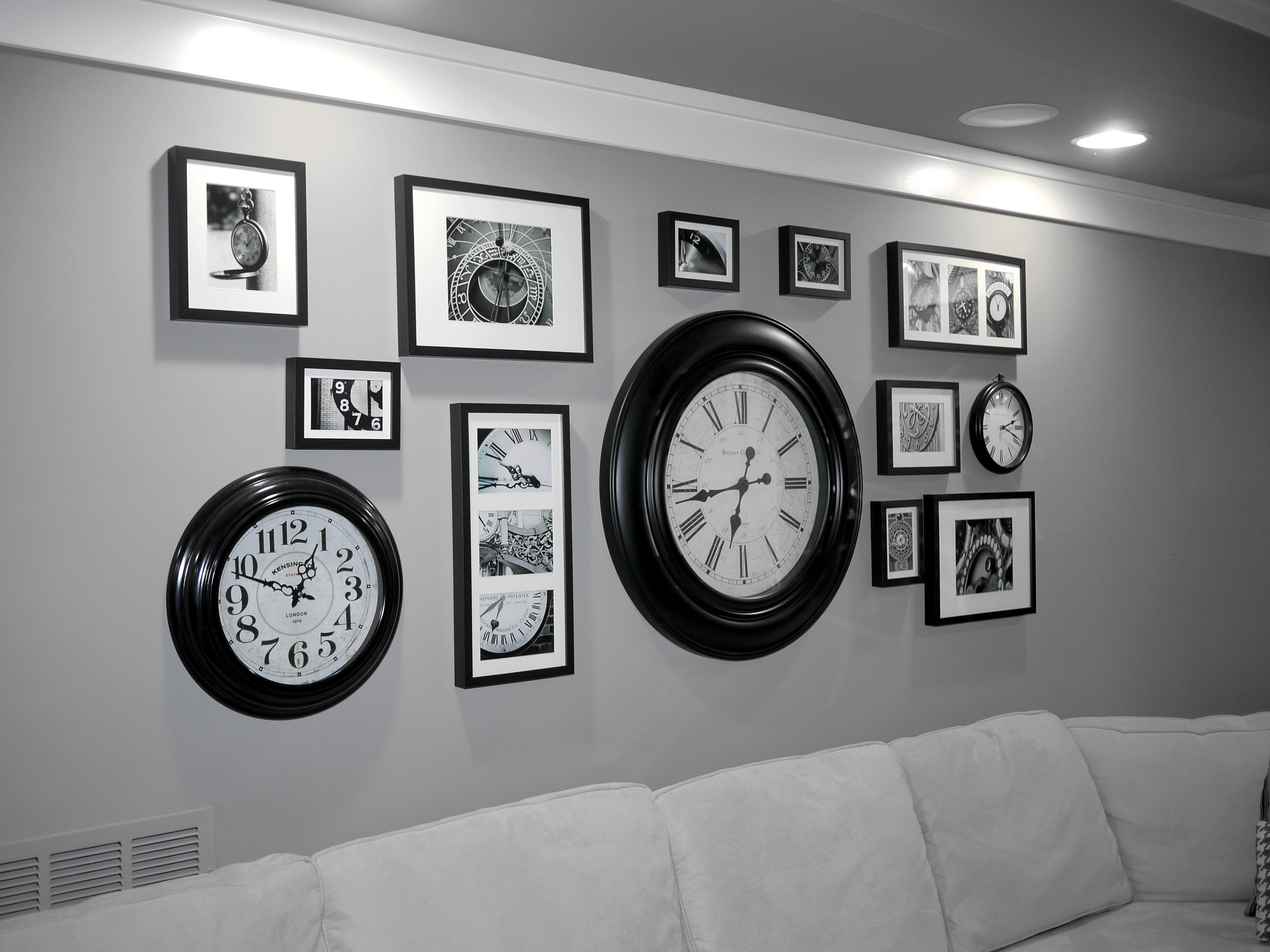 Around living room clockOur  Clock Wall  Borrowed the idea from a Pottery Barn store here  . Living Room Clocks Ikea. Home Design Ideas