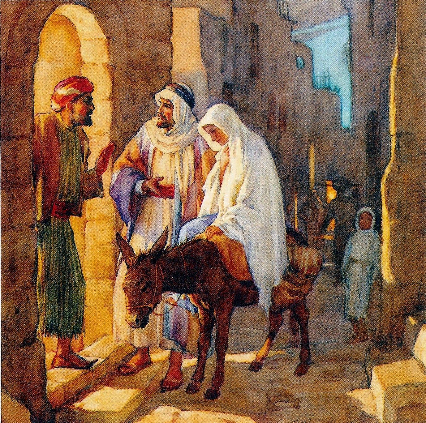 Lucas 2:4 - 7  Y José subió de Galilea, de la ciudad de Nazaret, a Judea, a la ciudad de David, que se llama Belén, por cuanto era de la casa y familia de David; para ser empadronado con María su mujer, desposada con él, la cual estaba encinta. Y aconteció que estando ellos allí, se cumplieron los días de su alumbramiento. Y dio a luz a su hijo primogénito, y lo envolvió en pañales, y lo acostó en un pesebre, porque no había lugar para ellos en el mesón.♔