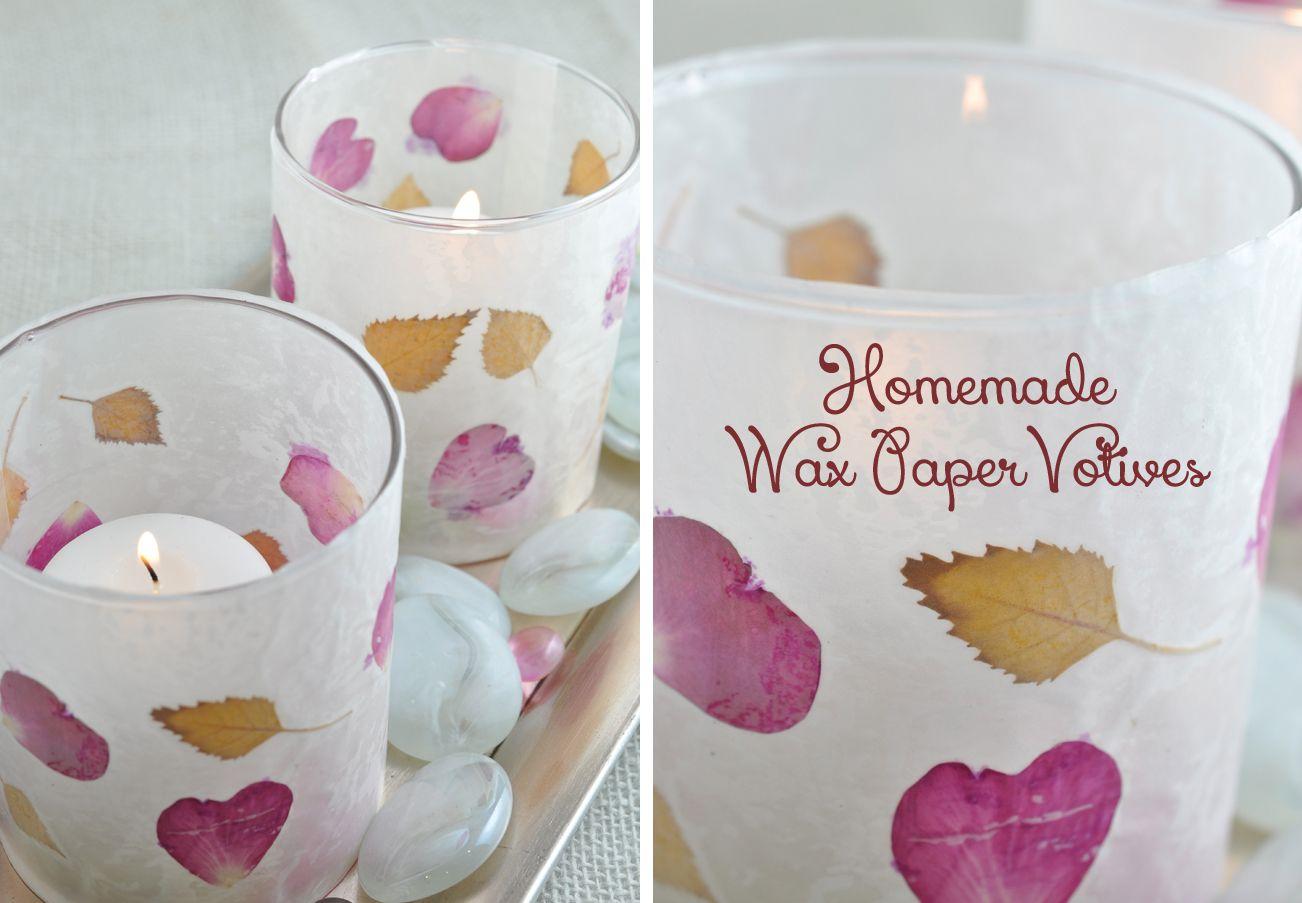 Leaf and Flower Petal Wax Paper Votive Candle Holders   DIY ...